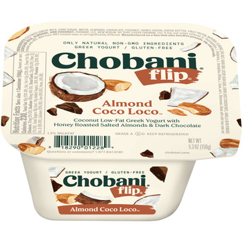 Chobani Flip Low-Fat Greek Yogurt, Almond Coco Loco, 5.3 Oz Cup (12 Count)
