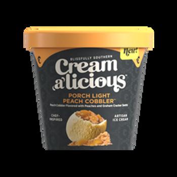 Creamalicious, Porch Light Peach Cobbler Artisan Ice Cream, Pint (1 Count)