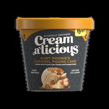 Creamalicious, Aunt Poonies Caramel Pound Cake Artisan Ice Cream, Pint (1 Count)