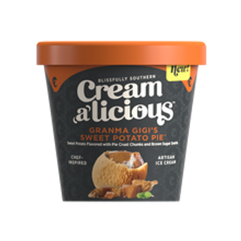 Creamalicious, Grandma Gi Gi's Sweet Potato Pie Artisan Ice Cream, Pint (1 Count)