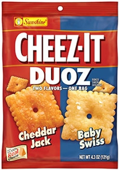 Cheez-It, Duoz, Cheddar Jack & Baby Swiss, 4.3 oz. Bag (1 Count)