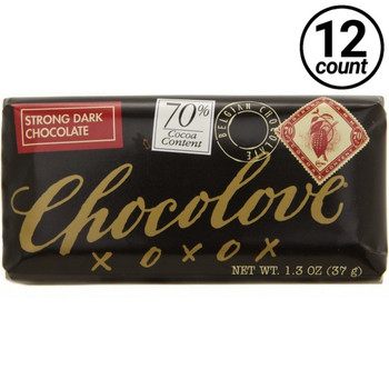 Chocolove Mini, Strong Dark Chocolate 70% Cocoa, 1.3 oz. (12 Count)