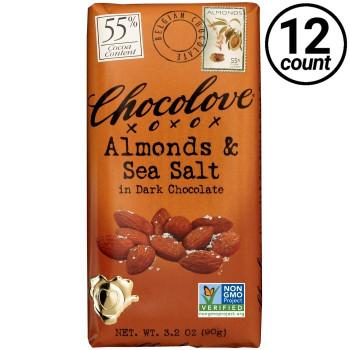 Chocolove, Almonds & Sea Salt in Dark Chocolate 55% Cocoa, 3.2 oz. Bars (12 Count)