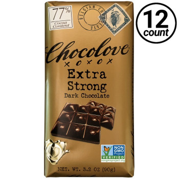 Chocolove, Extra Strong Dark Chocolate 77% Cocoa, 3.2 oz. Bars (12 Count)