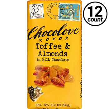 Chocolove, Toffee & Almonds in Milk Chocolate 33% Cocoa, 3.2 oz. Bars (12 Count)