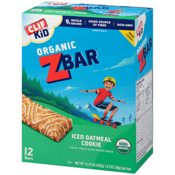 CLIF kid Z-Bar, Organic Iced Oatmeal Cookie, 1.27 oz. Bar (18 Count)