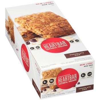 Corazonas, Oatmeal Square, Chocolate Chip, 1.76 oz. bar (12 Count Case)