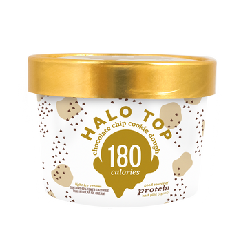 Halo Top - Chocolate Chip Cookie Dough,   8 oz Half-Pints (16 Count)