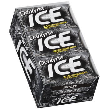 Dentyne Ice, Arctic Chill Sugar Free Gum, 16 Piece Packs (9 Count)