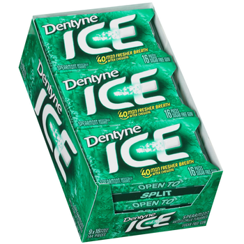 Dentyne Ice, Spearmint Sugar Free Gum, 16 Piece Packs (9 Count)
