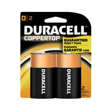 "Duracell, Coppertop, ""D"" cell, two pack"
