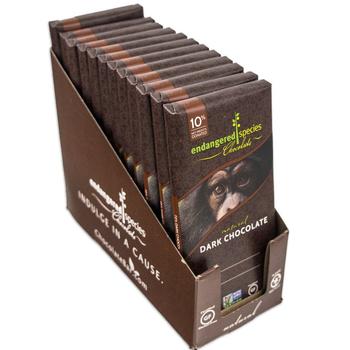 Endangered Species Chocolate All-Natural, Chimpanzee, Supreme Dark Chocolate, 3.0 oz. Bars (12 Count)