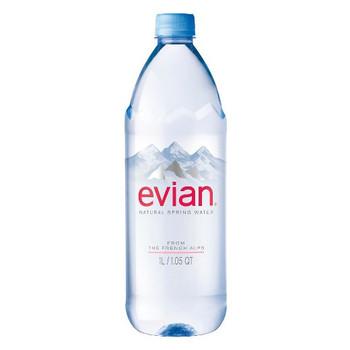 Evian Natural Spring Water, 1 Liter PET (1 Count)