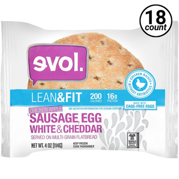 EVOL, Breakfast Sandwhich Lean & Fit Chicken Apple Sausage, Egg White & Cheddar, 4 oz. (18 Count)