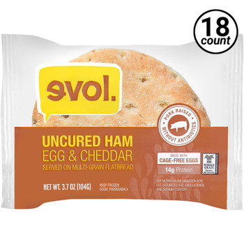EVOL, Breakfast Sandwich with Ham, Egg, and Cheddar on Multigrain Flatbread, 3.6 oz. (18 Count)