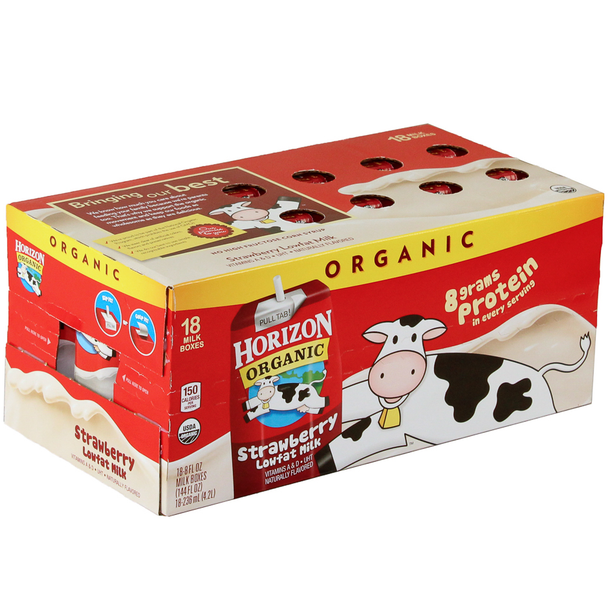 Horizon Organic, Lowfat Strawberry Milk, 8 oz  Carton (18 Count Case)