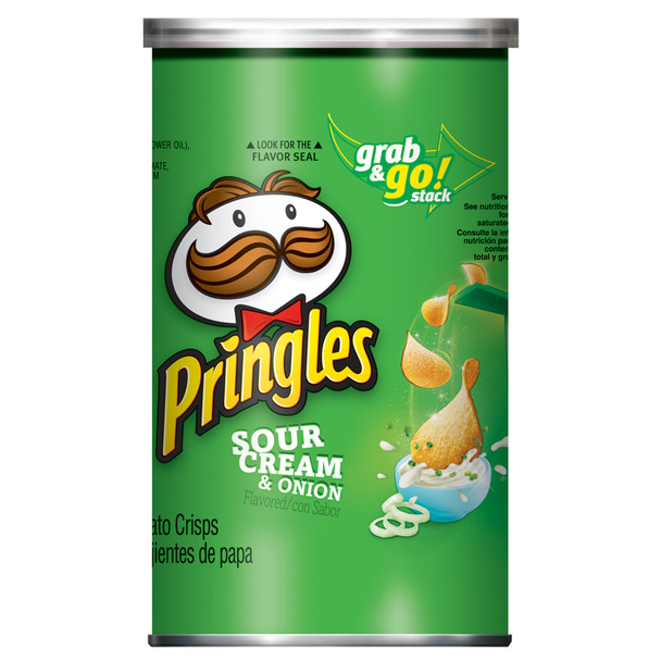 Pringles Potato Crisps, Sour Cream & Onion, 2.5 oz. Can (1 Count)