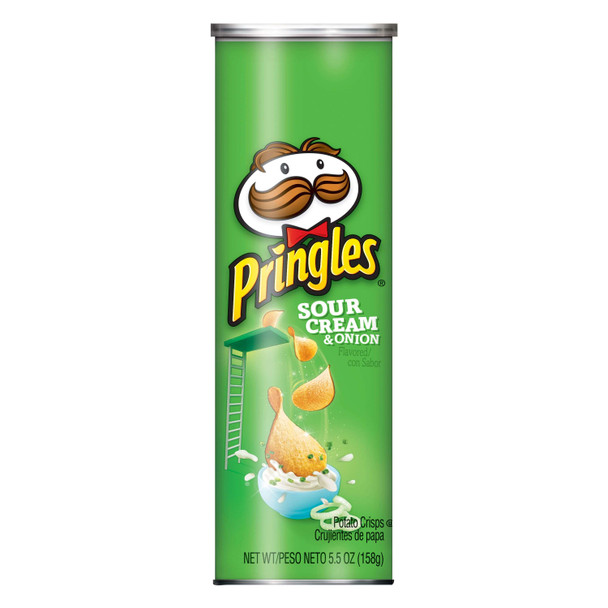 Pringles Potato Crisps, Sour Cream & Onion, 5.5 oz. Can (1 Count)