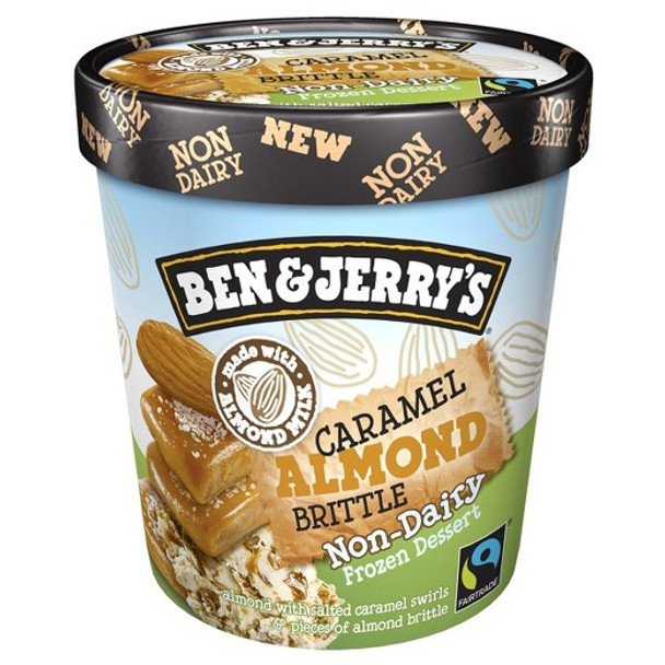 Ben & Jerry's, NON-DAIRY Caramel Almond Brittle Ice Cream, Pint (1 Count)