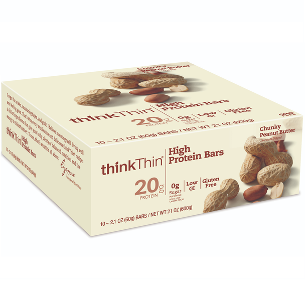 thinkThin High Protein Bar, Chunky Peanut Butter, 2.1 Oz (10 Count)