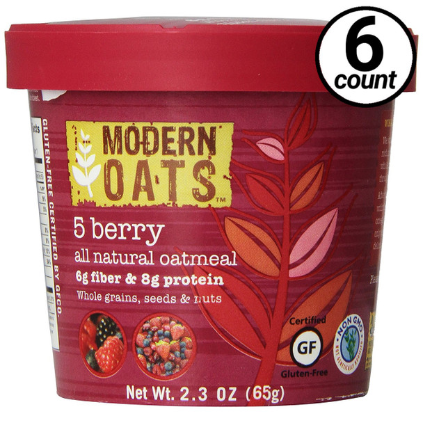 Modern Oats All Natural Oatmeal, 5 Berry, 2.3 Oz Cup (6 Count)