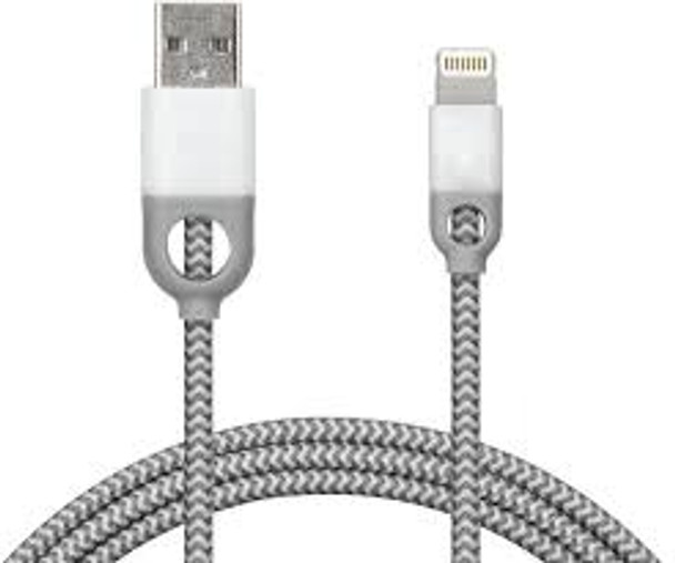iHome Lightning Cable, 6ft Nylon Charge & Sync Cable, Dual Strain Relief Protection, White Color (1 Count)