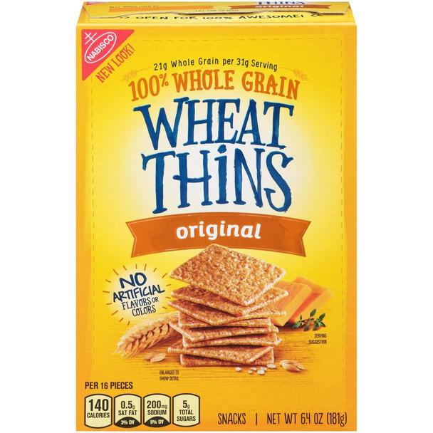 Wheat Thins, Original Whole Grain Crackers, 6.4 oz. Box (1 Count)