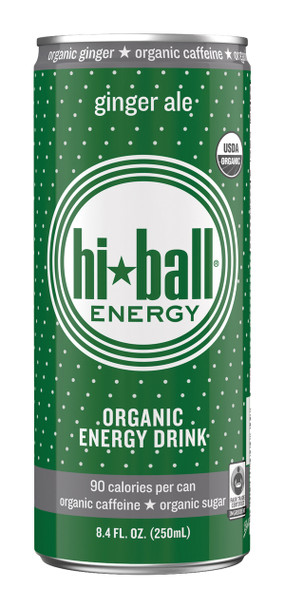 Hi Ball Organic Energy Drink, Ginger Ale, 8.4 oz (Pack of 24)
