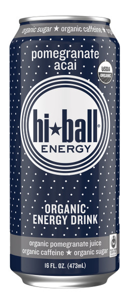 Hi Ball Organic Energy Drink, Pomegranate Acai, 16 oz (Pack of 12)