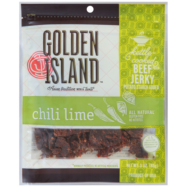 Golden Island, Beef Jerky Chili Lime, 3.0 oz. (1 count)
