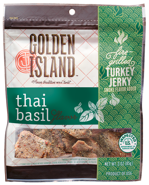 Golden Island, Turkey Jerky Thai Basil 3.0 oz. (1 count)
