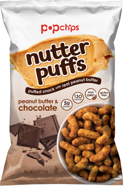 Popchips Nutter Puffs, Peanut Butter and Chocolate 4.0 Oz (1 Count)