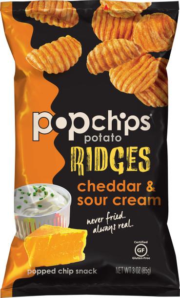 Popchips Ridges, Cheddar & Sour Cream, 3.0 Oz (1 Count)