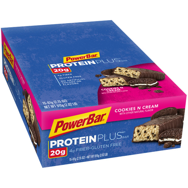 PowerBar Protein Plus Cookies and Cream, 2.15 Oz Bar (15 Count)