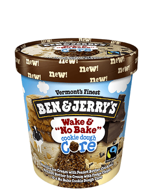 "Ben & Jerry's, Wake ""No Bake"" Cookie Dough Core Ice Cream, Pint (1 count)"