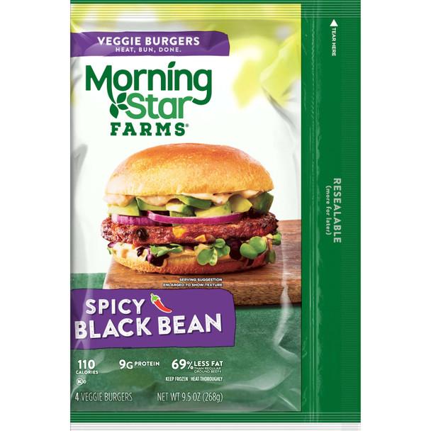 Morningstar Farms, Veggie Burgers Spicy Black Bean Patties, 9.5 oz. (8 Count)