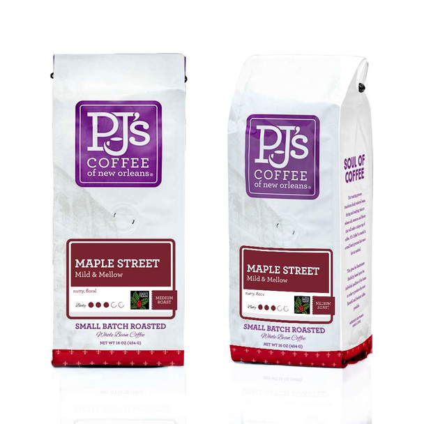 PJ'S Coffee of New Orleans, Maple Street, Whole Bean, 1 lb. (6 Count)