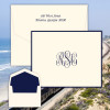 Del Mar Monogram Fold Notes - Raised Ink Stationery - Optional Border - Made In The USA (EG3411)