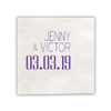 Date Wedding Napkins - Foil Pressed - Sample 1