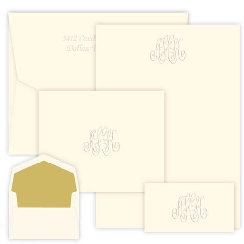 150 Piece Encore Monogram Stationery Set - Embossed Stationery - 5 Monogram Designs (EG1600)