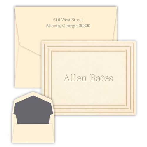 Personalized Embossed Stationery - Folding Notes - Classic Frame Design (EG5020)