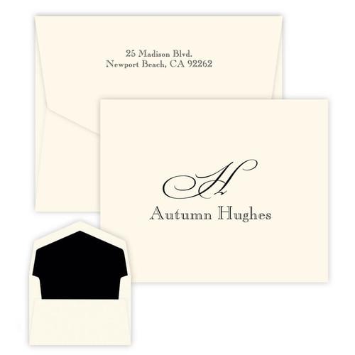 Name & Initial Monogram Fold Notes - Raised Ink - 25/Set (EG2183)