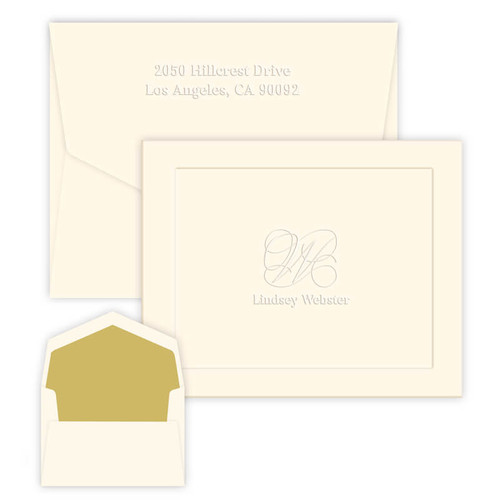 Single Initial & Embossed Name Folded Note Embossed Stationery - 25/Set (EG7081)