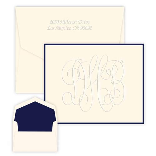 Henry Grand Monogram Fold Notes - Embossed Stationery - Optional Border (EG1776)