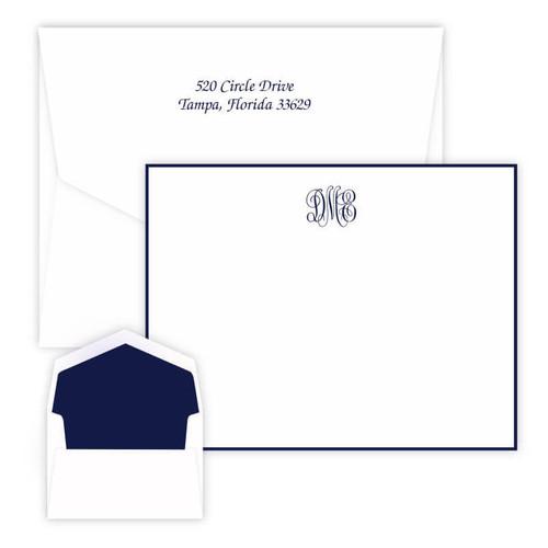 Del Mar Monogram Flat Cards - Raised Ink Stationery - 2 Sizes - Border Optional (EG3410) - Font L123