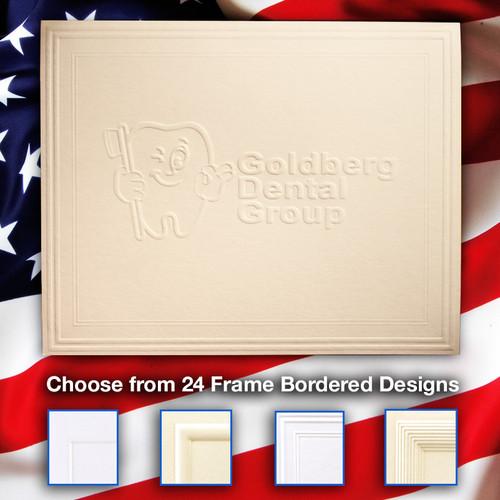 Your Logo Embossed on Folded Notes - 24 Frame Border Designs - Fully Custom Embossed Business Stationery (EG5058)