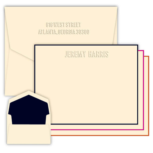 Monte Embossed Flat Cards - Optional Border - Multiple Fonts - Embossed Stationery -  (EG2350)