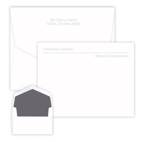 Professional Mission Flat Cards - 2 Lines of Personalization - Embossed Stationery (EG9004)
