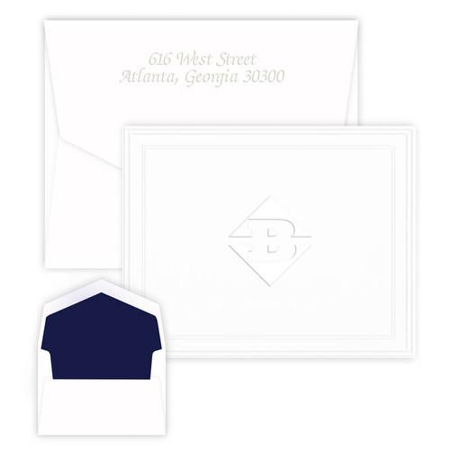 Your Logo Embossed Tradition Frame on Folded Notes - Custom Order Embossed Stationery (EG5063)