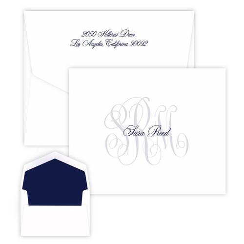 Classic Monogram & Name Folded Notes - Raised Ink - 25/Set (EG5620)